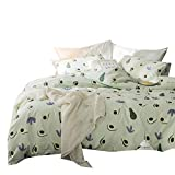 Enjoylife 100% Cotton Soft Children Duvet Cover Set Fruits Pattern Avocado Reversible Boys Girls Bedding Set 3 Pieces with 2 Pillow Cases Best Bedding Gifts for Kid Full/Queen