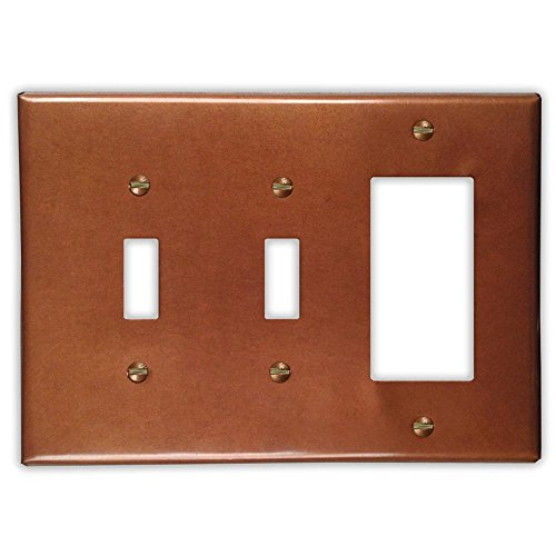 Antique Copper 2 Toggle / 1 Rocker Wallplate by Copper Ventures