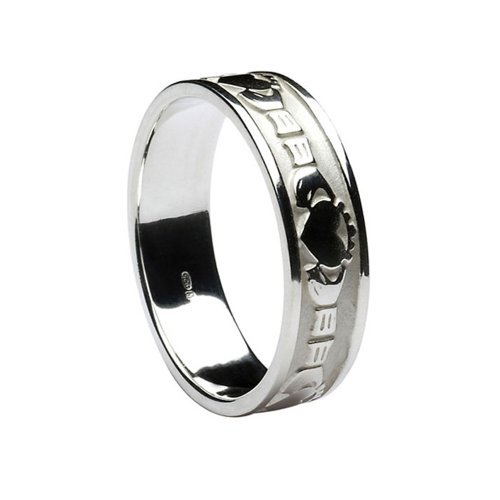 Ladies Claddagh Irish Wedding Band 10k White Gold Size 7