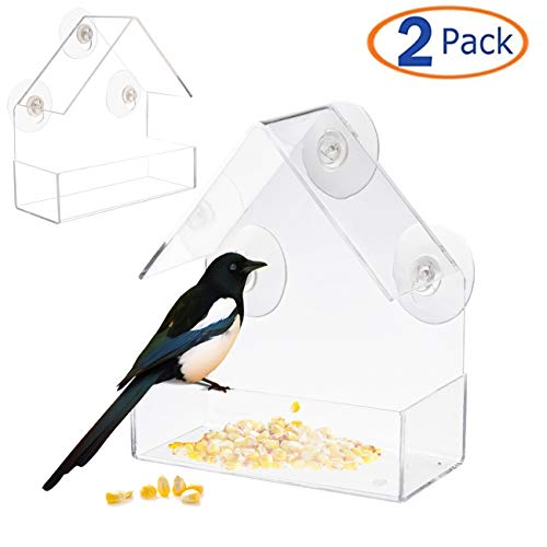 Tfwadmx Window Bird Feeders with Hanging Strong Suction Cups for Outdoor Wild Bird Hummingbird Finch Chickadees Cardinals Bluebirds Songbirds Bird House(2 Pack)