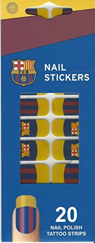 Official FC Barcelona Nail Stickers Set of 20 Nail Polish Tattoo Strips