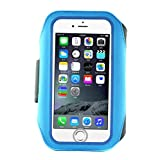 IPhone6 6s 4.7 Inch 6PLUS 5.5 Armband Sports Running Bag Jogging Cycling Biking Hiking Exercise with Double Buckle Card Pocket Earphone Holes Perfect for Men Women Outdoor Activity Blue 5.5 FW13