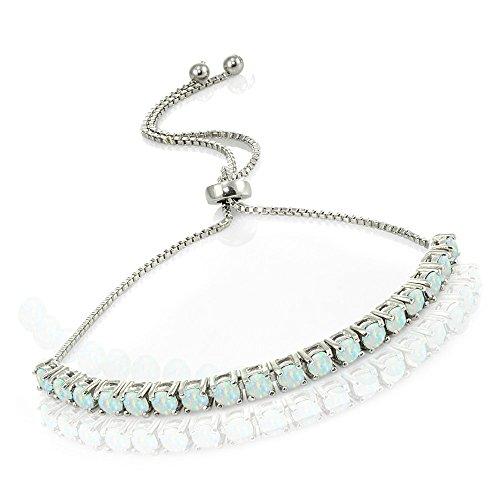 - Lovve Sterling Silver Simulated White Opal Tennis Style Adjustable Pull-String Bolo Bracelet