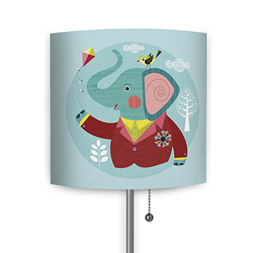 Mouse + Magpie Enzo the Elephant Lamp with Fabric Shade for Kids Room, Toddler Room, Nursery, Playroom, Office, 21'' tall with a 7'' round base 21' Tall Lamp