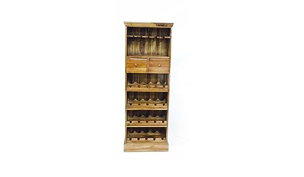 PurEtnic Mueble botellero etnica de Madera Teca Artesanal Estilo Vintage con Porta Vasos y cajones: Amazon.es: Hogar
