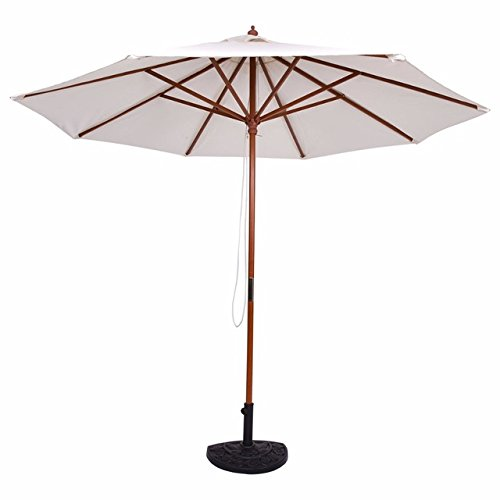 SKEMIDEX--- Adjustable 9FT Wooden Patio Umbrella Wood Pole Outdoor Garden Sun Shade Beige cantilever patio umbrellas on sale offset patio umbrella patio umbrellas patio umbrellas costco sears (Patio Sears Furniture Sale)