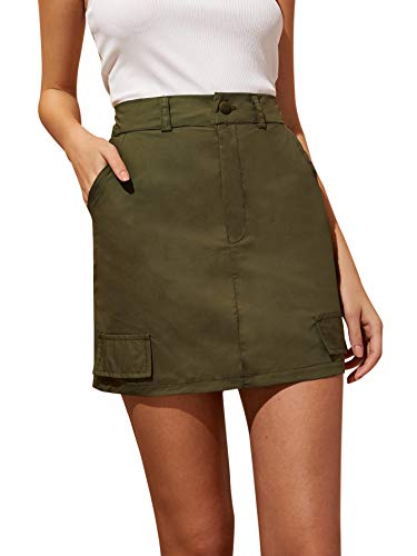 WDIRARA Women's Summer A Line High Waist Solid Mini Button Fly Skirt Army Green L ()