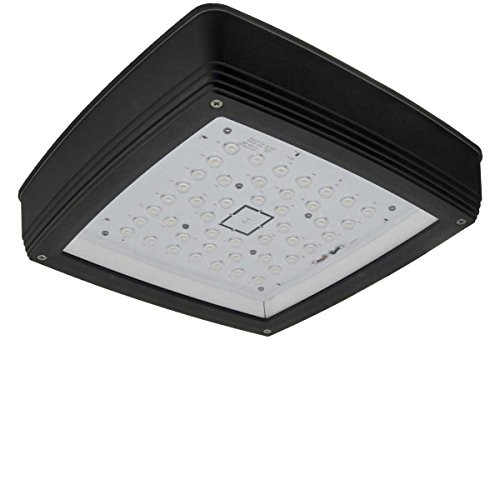 - 175W Equal - Low profile LED canopy light 4374 lumens DLC and ETL low profile IP65 bronze housing 5000k 40W 120-277V. Tempered glass lens resists yellowing and oxidation with age.