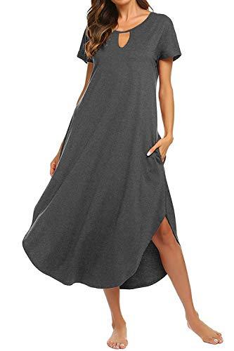 Bloggerlove Sleepwear Women's Casual V Neck Nightshirt Short Sleeve Long Lounger Dress with Pockets -
