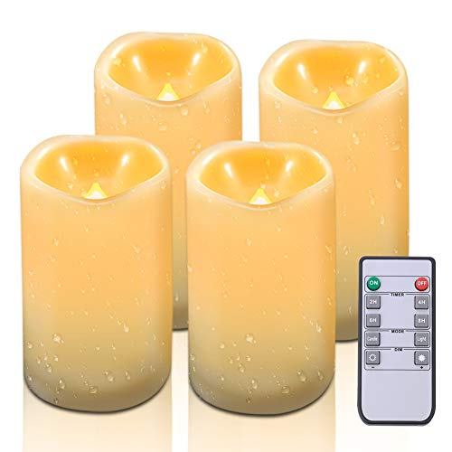 Beichi Waterproof Flameless Candles with Remote & Timer, LED Pillar Candles Set(H 5'' 5'' 6'' 6'' x D 3''), Outdoor Battery Operated Candle, Resin Plastic, Flickering Amber Glow, Set of 4 by Beichi