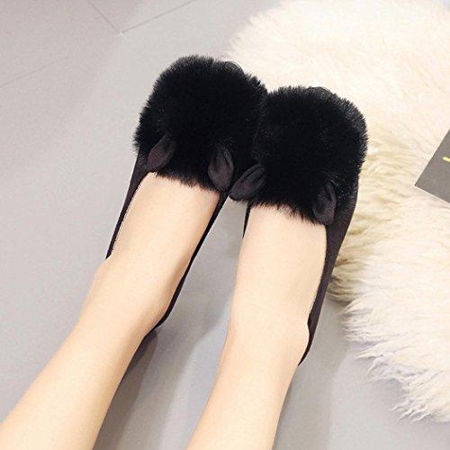 Kvinner Flat Tøffel, Inkach Chic Jenter Flip Flops Faux Fuzzy Pels Lysbilde Slip På Flat Sandal Sko Tøffel Svart