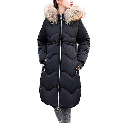 SMALLE ◕‿◕ Clearance, Women Outerwear Button Coat Long Cotton-Padded Jackets Pocket Fur Hooded Coats by SMALLE
