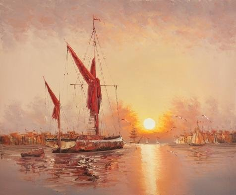 Oil Painting 'Seascape Of Sailing Ships,Sea Gulls And Sunset' 8 x 10 inch / 20 x 25 cm , on High Definition HD canvas prints is for Gifts And Kids Room, Kitchen And Living Room Decoration