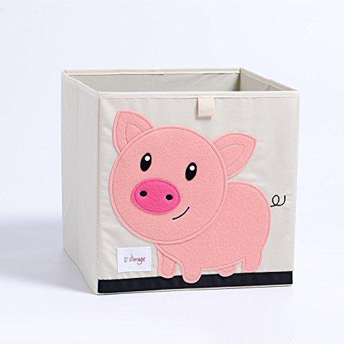 Cartoon Animal Folding Storage Box Large Laundry Basket Sundries Children Clothes Toys Book Storage Organizer (Pig) by zhiyu&art decor