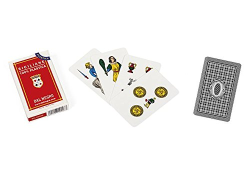 - Dal Negro Siciliane 015010 Italian Regional Playing Cards Plastic, Red Case - Deck of 40 Cards [ Italian Import ]