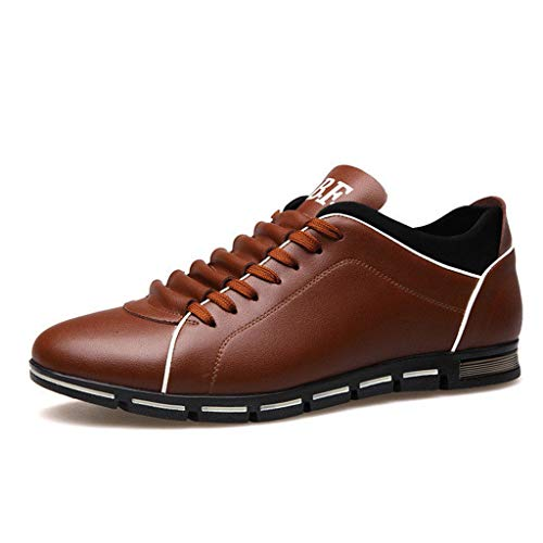 [해외]Men Leather Shoes Casual Loafers Lace-up Round Toe Business Dress Shoes (US:9.5 Brown) / Men Leather Shoes Casual Loafers Lace-up Round Toe Business Dress Shoes (US:9.5, Brown)