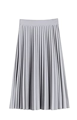 GOLDSTITCH Women Pleated Fall and Winter A line Midi Skirt