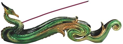 StealStreet SS-G-71395 Gold & Green Dragon Incense Burner, 12.75