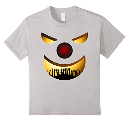 Kids Creepy Clown Halloween TShirt Horror Funny Costume Gift Idea 10 Silver