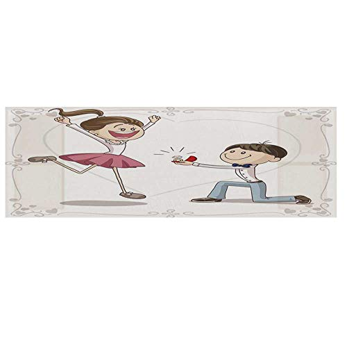 """(Engagement Party Decorations Cotton & Linen Microwave Oven Protective Cover,Cartoon of Lovely Romantic Couple with Wedding Ring Cover for Kitchen,36""""L x 12""""W)"""