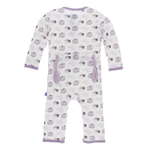 KicKee Pants Little Girls Print Coverall with Zipper - Natural Sweet Treats, 9-12 Months