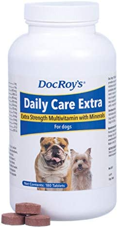Doc Roy s Daily Care Extra Multivitamin with Minerals for Dogs- Canine Daily Health Supplement – 180ct Tablets