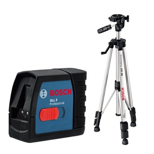 Bosch 061599404T GLL 2 Professional Linienlaser in Schutztasche mit Multifunktionshalterung und Baustativ BS 150