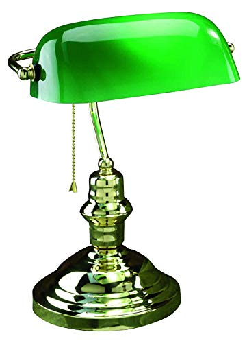 (1 Light Bankers Lamp with Green Glass Shade Gold)
