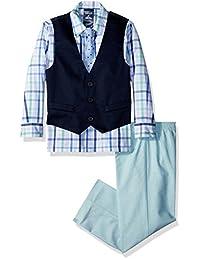 Conjunto de chaleco formal de 4 piezas para niños IZOD con camisa, chaleco, pantalón y corbata