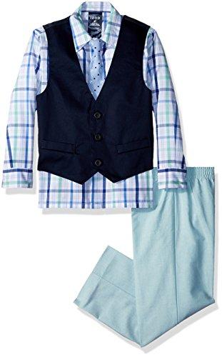 Izod boys 4-Piece Formal Vest Set with Shirt, Vest, Pants, and Tie, Green, 3T