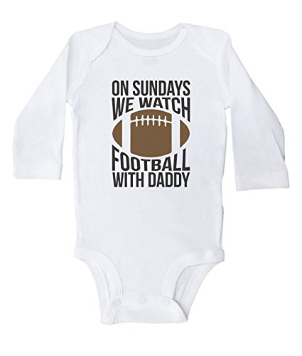 Baffle Funny Football Onesies for Babies/ON Sundays, Football W/Daddy (6 MO, White Long Sleeve)