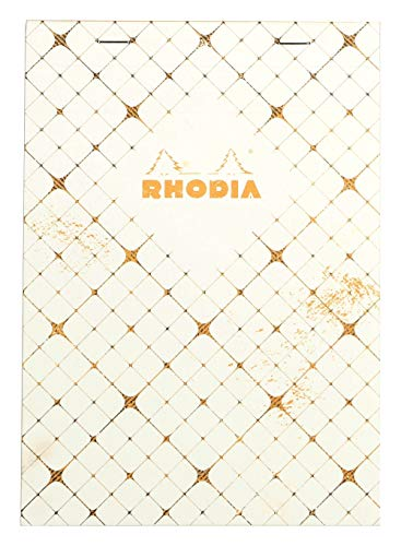 Rhodia Heritage A5 Head Stapled Notepad, Lined, Ivory Quadrille