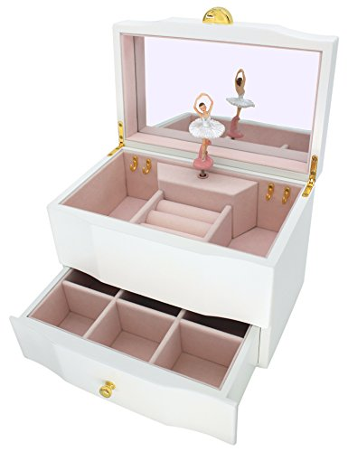Nutcracker Ballet Music Box (Attii Ballerina Jewelry Box Wooden Music Box for Girls with Drawer and Large Mirror, Waltz of the Flowers (The Nutcracker) Tune, White)