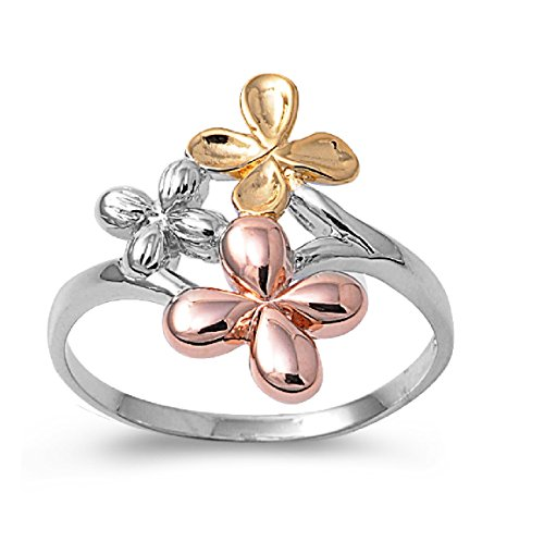 Princess Kylie 925 Sterling Silver Tri Color Plumeria Flowers Ring Size 8