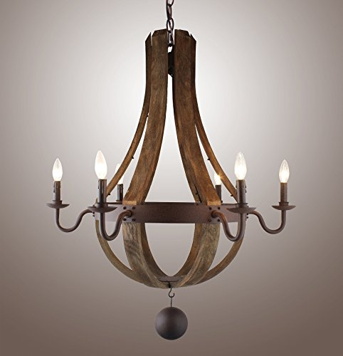"""34.6"""" Vintage Rustic Large Chandelier Pendant Light French Country Wood Metal Wine Barrel Foyer (6 Light Heads) Rustic Iron"""