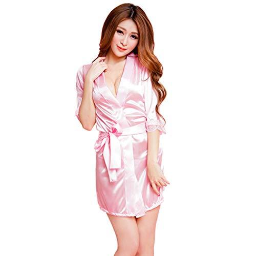 men Fashion Classic Bathrobe Pure Role-Playing Sexy Lingerie Wild Temptation Babydoll Bath Robe Nightwear ()