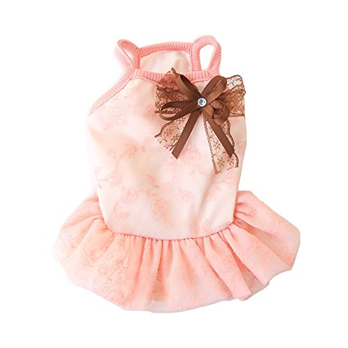 Dress Clothes Dog Teacup (BBEART Pet Clothes, Small Dogs Clothing Sweet Princess Tutu Dress Skirt Clothing Puppy Cat Apparel Clothes for Spring and Summer Small Dogs (X-Small:21cm, Pink))