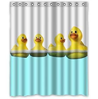 custom funny and cute tiled yellow rubber ducky waterproof bathroom fabric shower decor