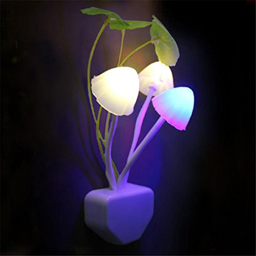 GOTD Night Light Mushroom Lamp Energy Saving Color Changing LED Sensor Night Lamp Light Green Plants on the Wall, Romantic Colorful Home Decor, Baby Room, Bedroom, Nursery, Outdoor (Colorful )