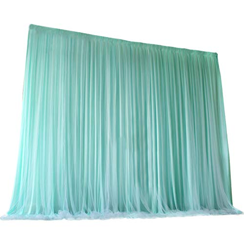 TINTON LIFE 6.6ft x 6.6ft Two Layers Tulle Backdrop Curtains for Party Wedding Baby Shower Birthday Decorations Photography Backdrop Christmas Background Decor Tiffany Blue -