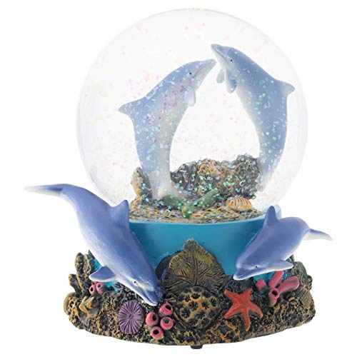 Elanze Designs Coral Reef Dolphin Pod 100MM Musical Water Globe Plays Tune Fur Elise 100 Mm Water Globe