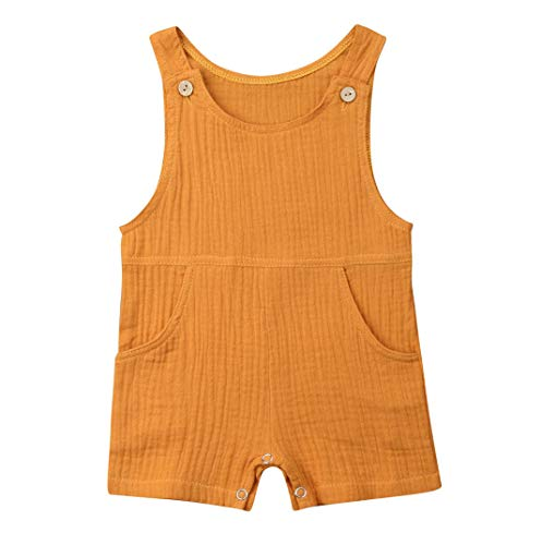 (Baby Boys' Short Sleeve Rompers Jumpsuit,Organic Cotton and Linen Sleeveless One-Piece Coverall (Yellow, 12-18M))