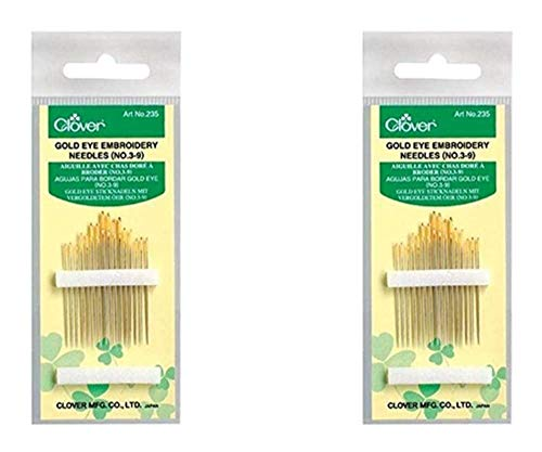Clover No. 3-9 Gold Eye Embroidery Needles, Pack of 16 (2 Pack)