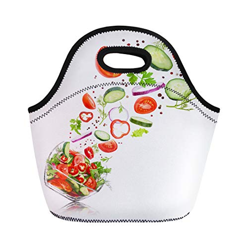Semtomn Lunch Bags Green Glass Salad Bowl in Flight Vegetables Tomato Pepper Neoprene Lunch Bag Lunchbox Tote Bag Portable Picnic Bag Cooler Bag