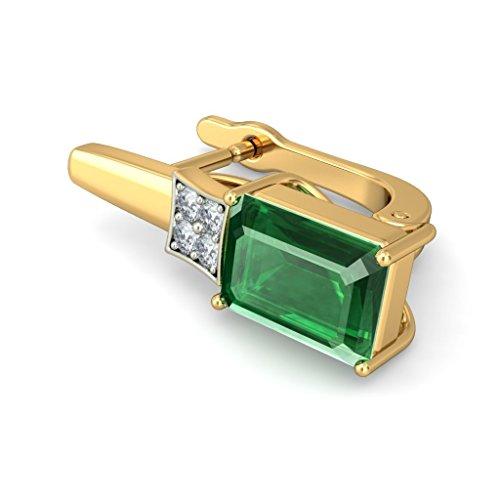 14K Or jaune 0,1ct tw White-diamond (IJ | SI) et émeraude Boucles d'oreilles créoles