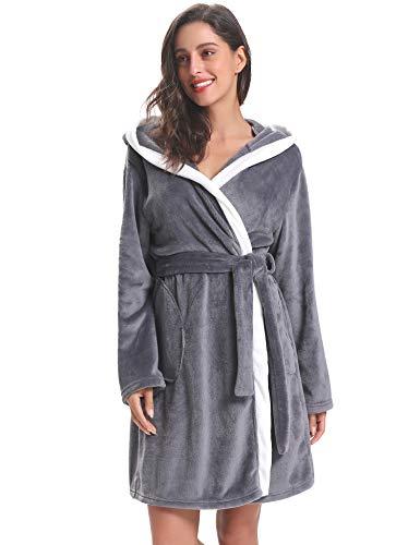 robe Foncé Aibrou Vêtement Capuche Longue Femmes Peignoir D'hiver Mariée Nuit Dames Lady Chambre Gris De Nuit Hôtel Flanelle Femme Robe Chaudes PpqOyRqK