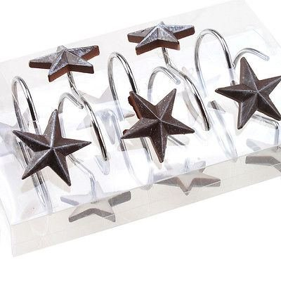 New 12 Pcs Decorative Star Rolling Curtain Hooks Bathroom Anti Rust Alloy Resin (Star Shower Hooks Curtain)