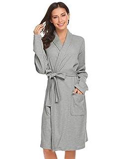 10ebd4d9d7 Tomasa Damen Bademantel Morgenmantel Schal Kragen Wrap Robe Langarm  Nachtwäsche mit Gürtel Schlafrock Robe Schlafanzug Pyjama