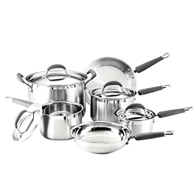 KitchenAid Gourmet Essentials Brushed Stainless Steel 10-Piece Cookware Set