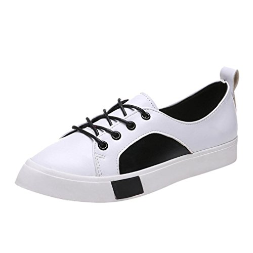 Anxinke Women Students Lace-up Sports Shoes Flat Casual Shoes (6 B(M) US, White) by Anxinke